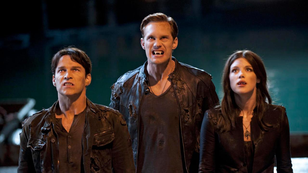 Alexander Skarsgard, Stephen Moyer and Lucy Griffiths appear in a scene from the fifth season of True Blood in 2012.
