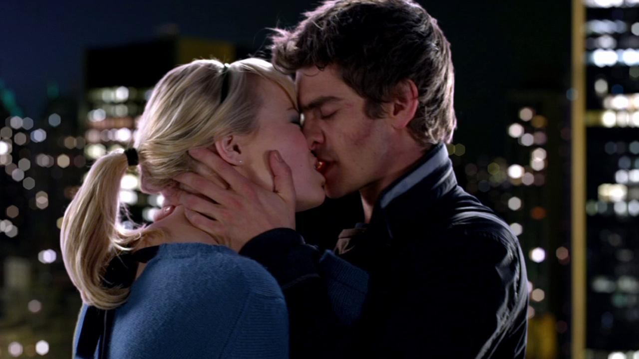 Andrew Garfield and Emma Stone kiss in a scene from the 2012 film The Amazing Spider-Man.