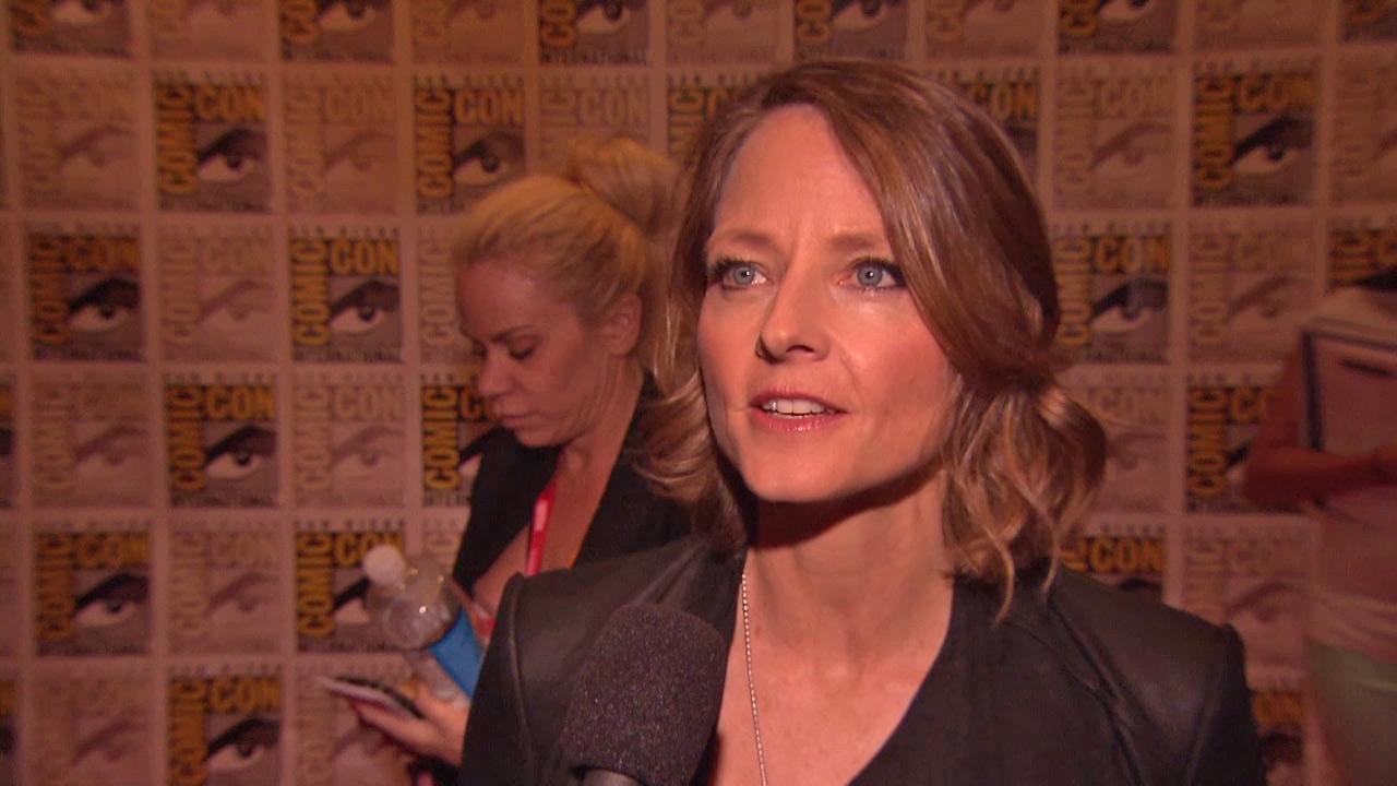 Jodie Foster talks about Elysium at San Diego Comic-Con on July 13, 2012.