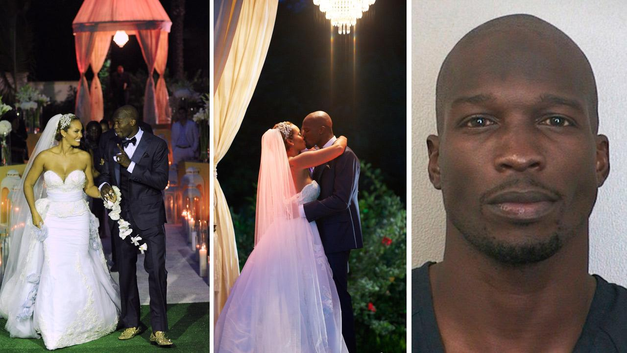 Evelyn Lozada and Chad Ochocinco Johnson appear at their July 4, 2012 wedding, as seen in promotional photos for their VH1 reality show, Ev and Ocho. / Chad Ochocinco Johnson appears in a booking photo taken after his Aug. 11, 2012 arrest.VH1 / Mike Colon / Getty Images / Broward Sheriff's Office