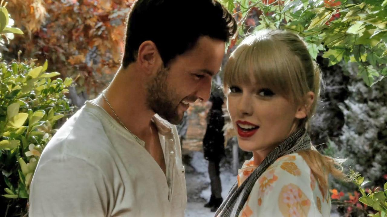 Taylor Swift appears in a still from her 2012 music video for We Are Never Ever Getting Back Together.