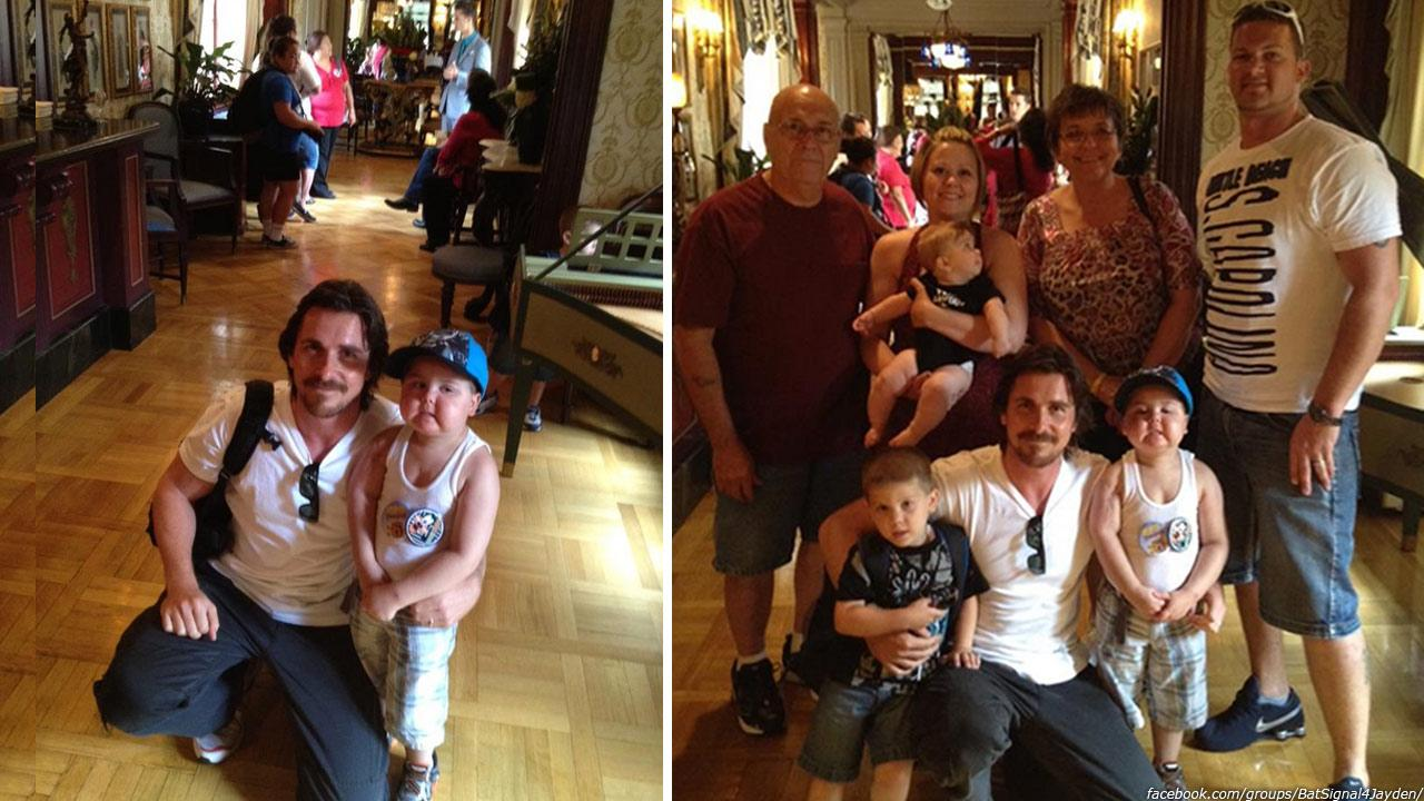 Christian Bale appears with Jayden Barber and his family at Disneyland in Anaheim, California, as seen in this photo posted by his mother on the Lighting the Batsignal for Jayden Facebook page on Sept. 7, 2012.