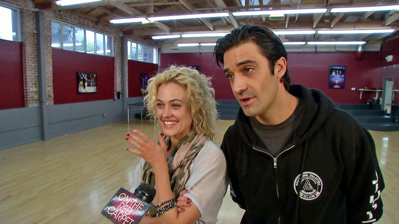 Gilles Marini and Peta Murgatroyd talk to OTRC.com on October 19, 2012 , during a rehearsal for Dancing With The Stars.