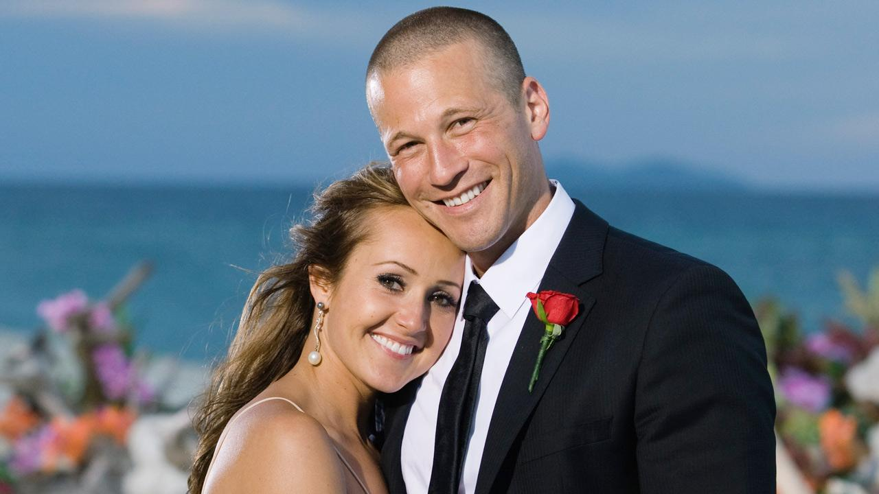 Ashley Hebert and J.P. appear in a scene from The Bachelorette season 7 finale, which aired on August 1, 2011 on ABC.MATT KLITSCHER