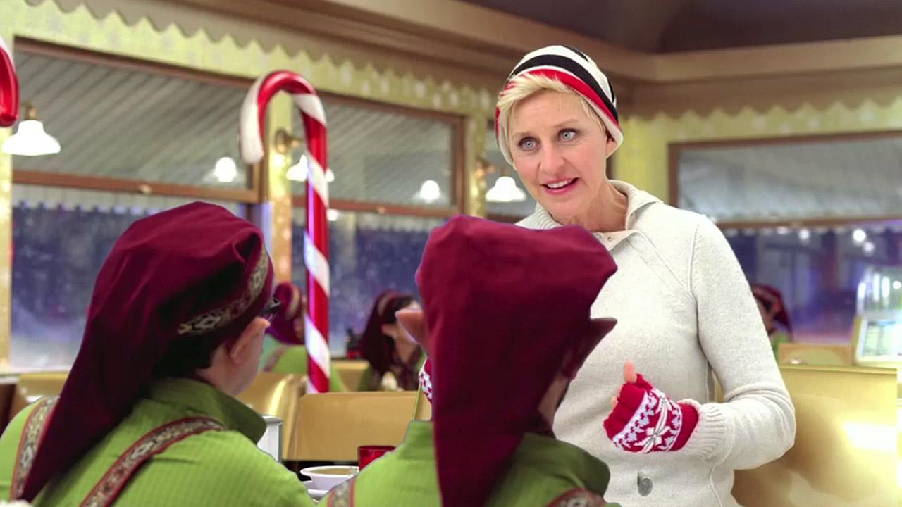 Ellen DeGeneres appears in a 2012 Christmas ad for jcpenney.