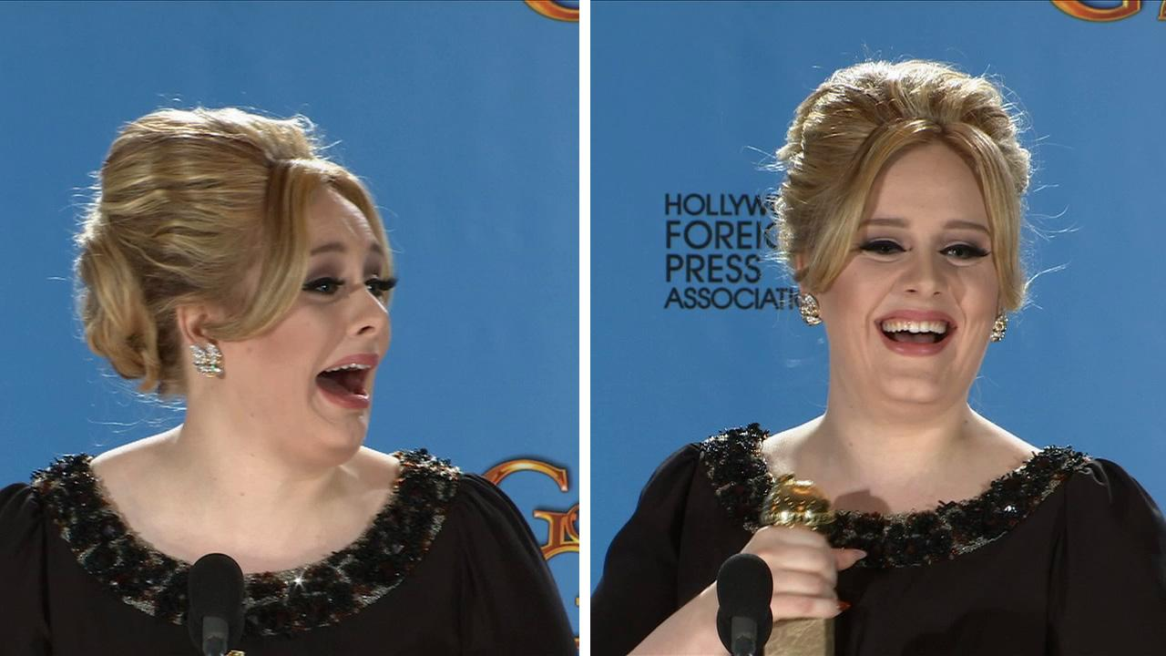 Adele gives her speech backstage at the 2013 Golden Globe Awards on January 13, 2013.