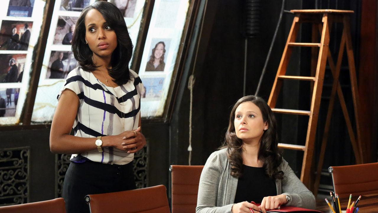 Kerry Washington and Katie Lowes appear in an April 2013 episode of Scandal.