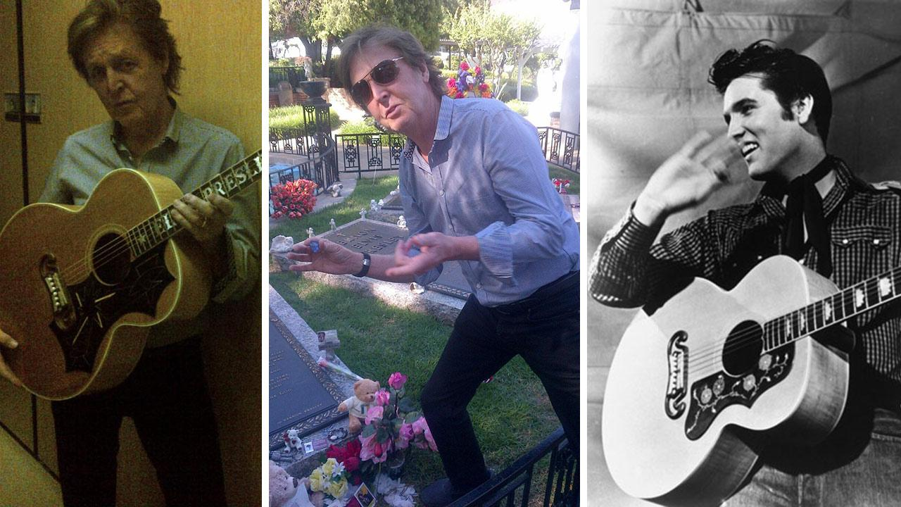 OTRC Paul McCartney Visits Elvis Grave Leaves Guitar Pick Photos