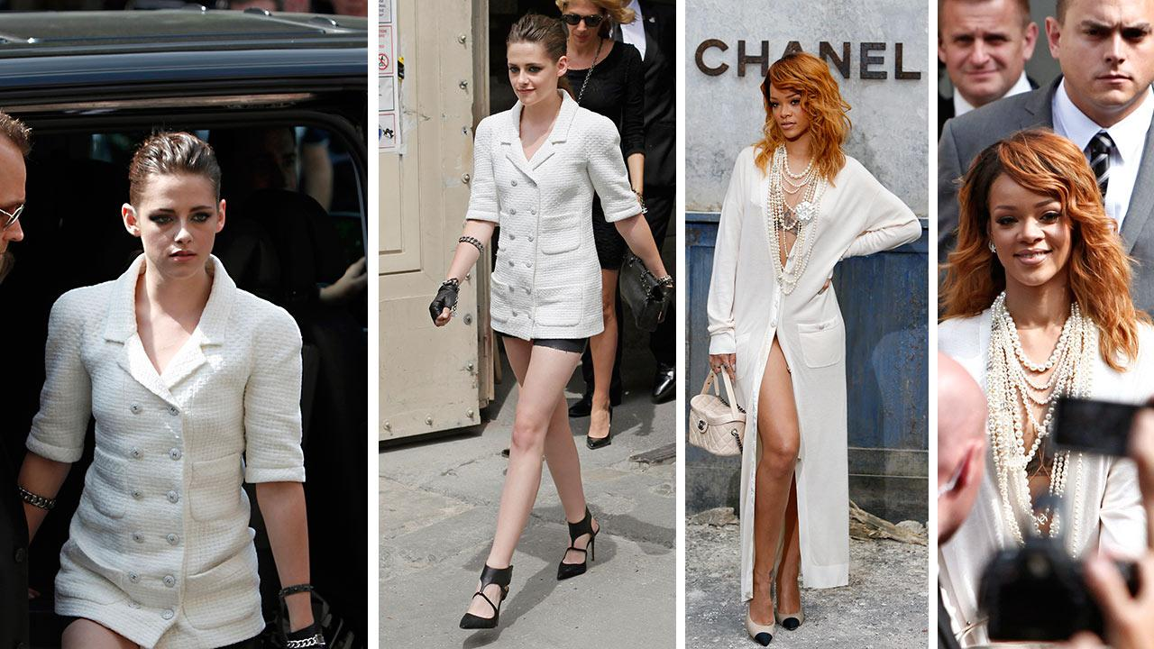 Kristen Stewart and Rihanna appear at Chanels Haute Couture Fall-Winter 2013-2014 collection, presented on Tuesday, July 2, 2013 in Paris.