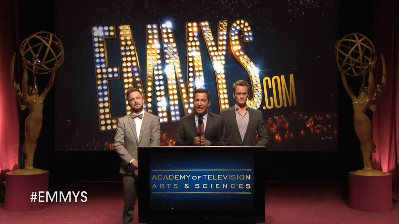 Aaron Paul, Neil Patrick Harris and Academy of Television Arts & Sciences Chairman-CEO, Bruce Rosenblum announce the 2013 Primetime Emmy Award nominations on July 18, 2013.