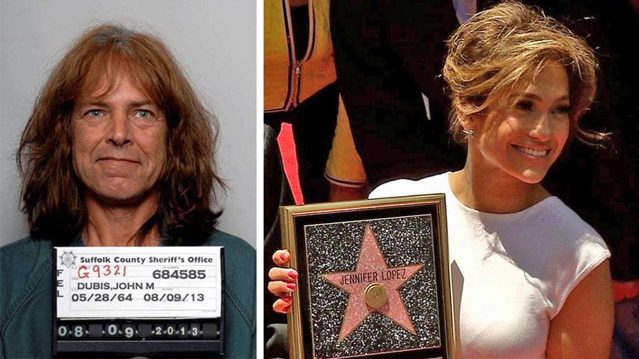 John M. Dubin, a man charged with stalking and burglarizing Jennifer Lopez, is seen in this mug shot released by the Suffolk County Sheriffs Office. / Jennifer Lopez receives her star on the Hollywood Walk of Fame on June 20, 2013.