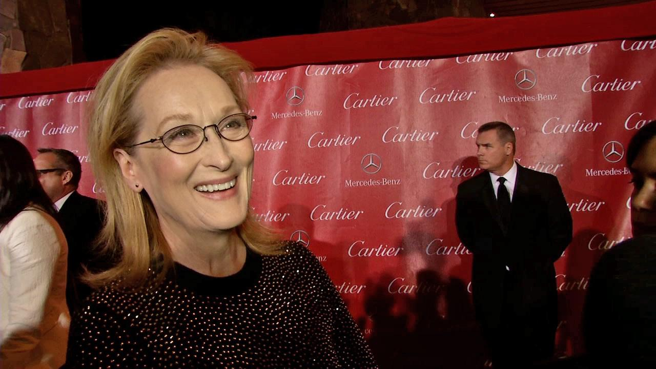 Meryl Streep talks to OTRC.com at the 2014 Palm Springs International Film Festival in Palm Springs, California on Jan. 4, 2014. She received the Icon Award at the event.