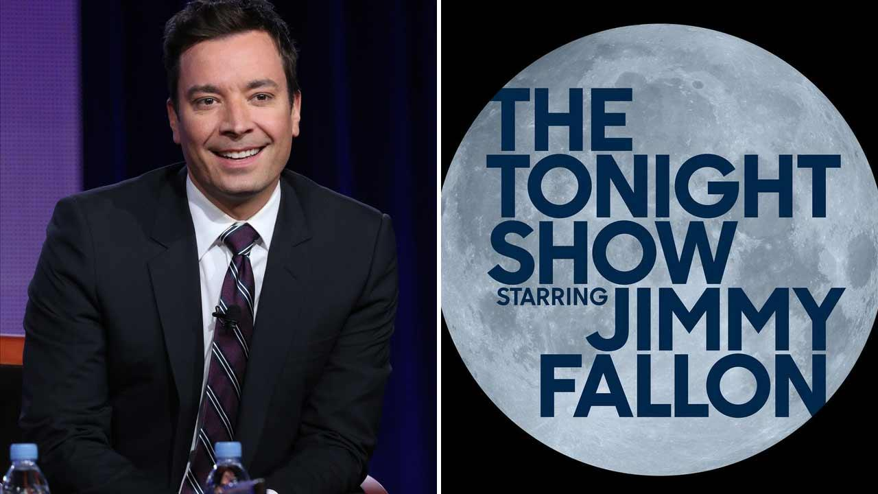 Left -- Jimmy Fallon appears at the NBC Winter Press Tour in January 2014. Right -- The new logo for The Tonight Show with Jimmy Fallon.