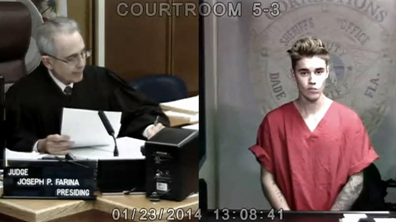 Justin Bieber is seen in a Miami court after he was arrested on Jan. 23, 2014 on suspicion of DUI and drag-racing. He was later released on a $2,500 bond.