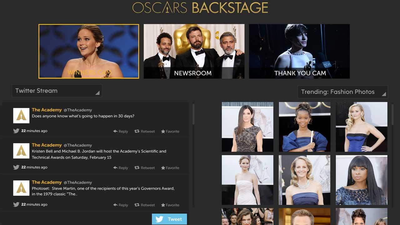 The Watch ABC Oscars Backstage experience, pictured, includes three camera views, trending fashion photos and much more. Get Watch ABC on your computer and mobile device!