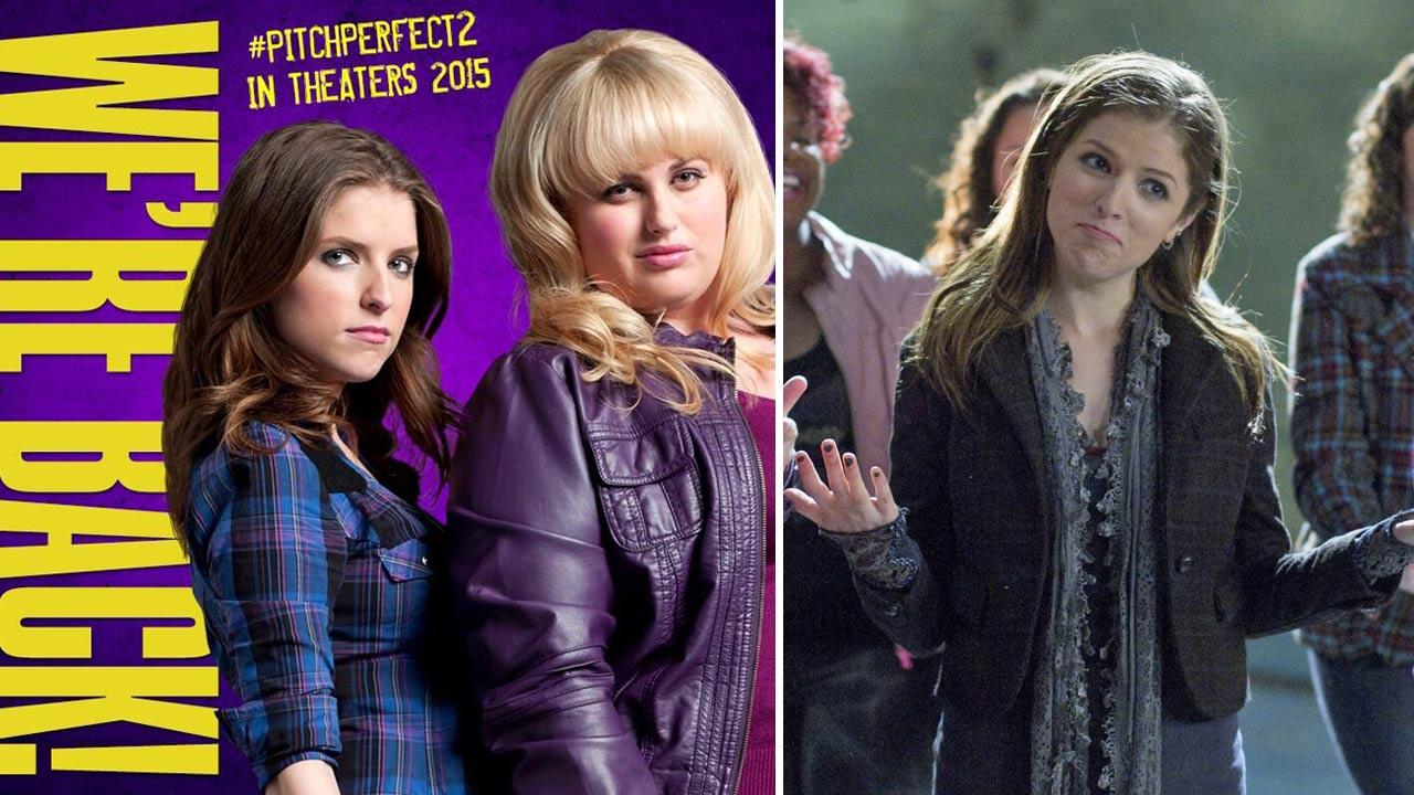 Anna Kendrick and Rebel Wilson appear in a promotional photo for the 2012 film Pitch Perfect. / Kendirck appears in a scene from the film.