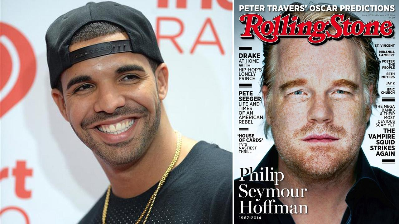 Drake appears at the 2013 iHeartRadio Music Festival in Las Vegas on Sept. 21, 2013. / Philip Seymour Hoffman appears a February 2014 cover of Rolling Stone.