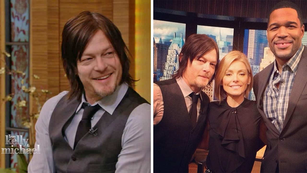 Norman Reedus, who plays Daryl Dixon on The Walking Dead, appears on LIVE with Kelly and Michael on Friday, Feb. 21, 2014.