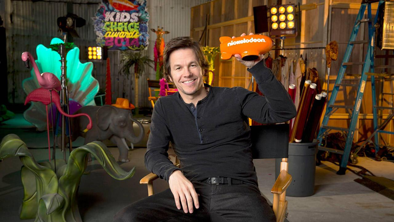 Mark Wahlberg, host of the 2014 Kids Choice Awards, is pictured in a publicity photos for the event, which takes place on March 29, 2014. The ceremony sees celebrities being slimed with green goo.