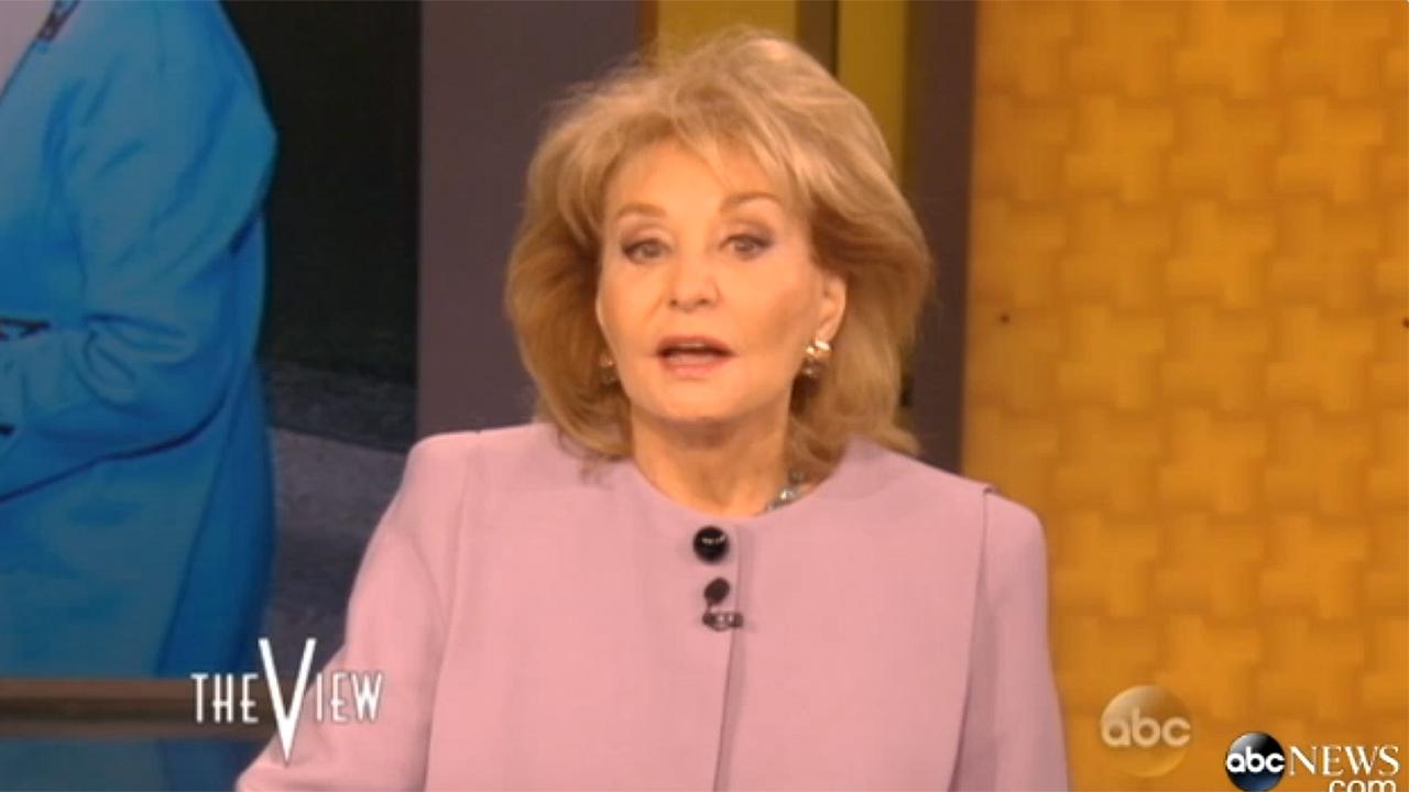 Barbara Walters announces the date of her final appearance on The View (May 16, 2014) in an episode of the ABC talk show that aired on April 7, 2014.