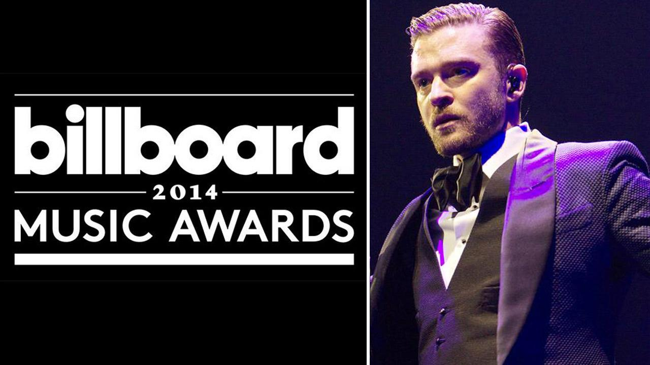 The official logo for the 2014 Billboard Music Awards. / Justin Timberlake performs in Madison Square Garden in New York on Feb. 20, 2014.