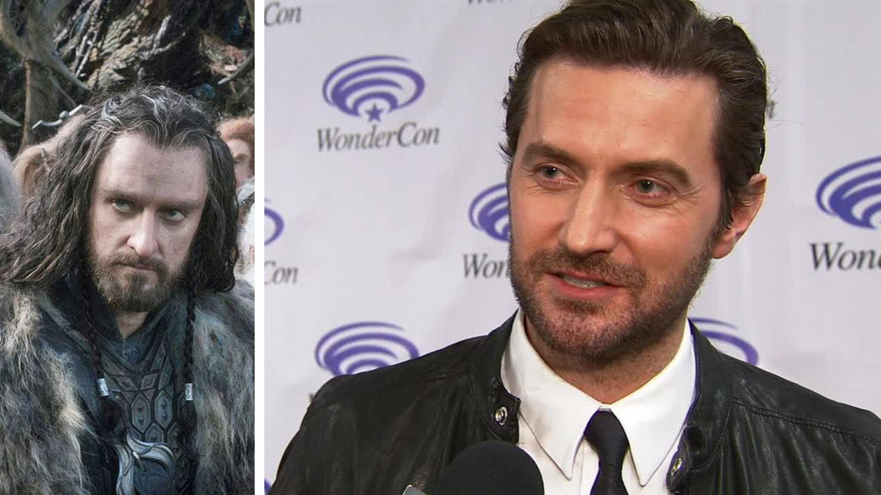 Richard Armitage appears as Thorin Oakenshield in a scene from The Hobbit: The Desolation of Smaug. / Richard Armitage of The Hobbit fame talks about The Hobbit: There and Back Again at the WonderCon Anaheim 2014 convention on April 19, 2014.
