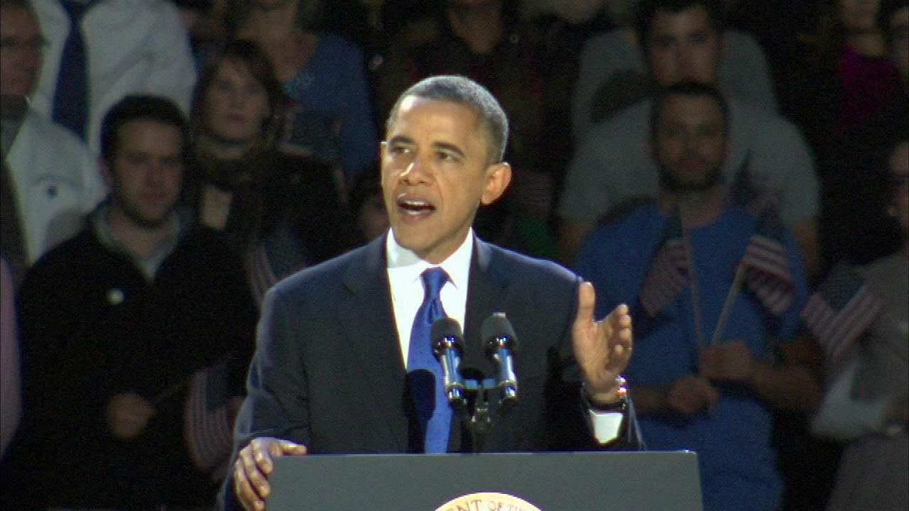 President Barack Obama on stage at McCormick Place, Wednesday morning, Nov. 7, 2012.President Barack Obama on stage at McCormick Place, Wednesday morning, Nov. 7, 2012.