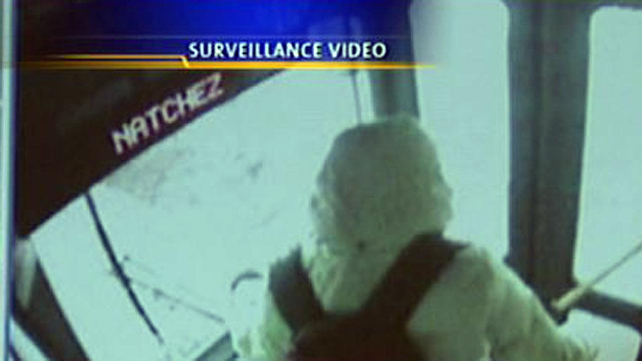 Ludwika Szynalik was seen on surveillance tape putting her bus on the rack and boarding.
