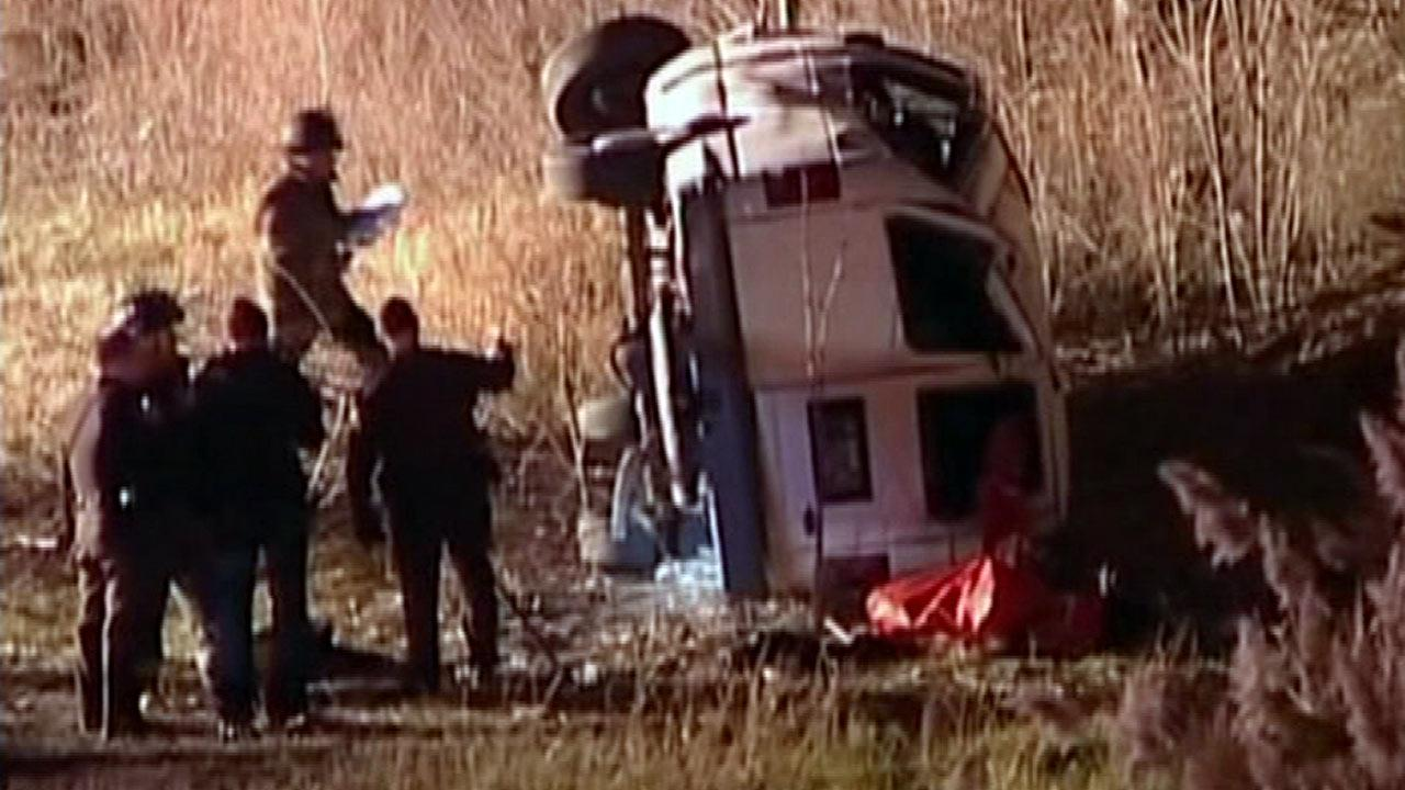 Church van rolls over, several injured