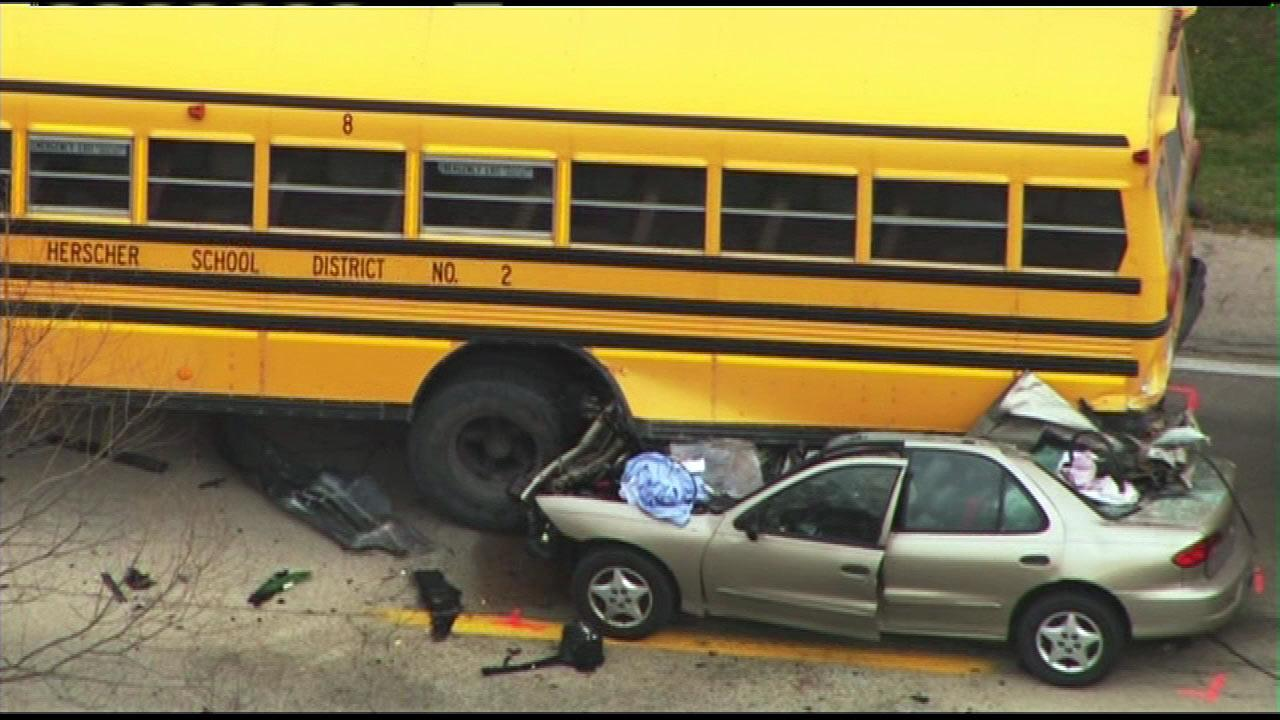 No students were seriously injured when a car slammed into their school bus Thursday morning, Dec 6, 2012, just south of the Kankakee River. The driver of the car was killed.