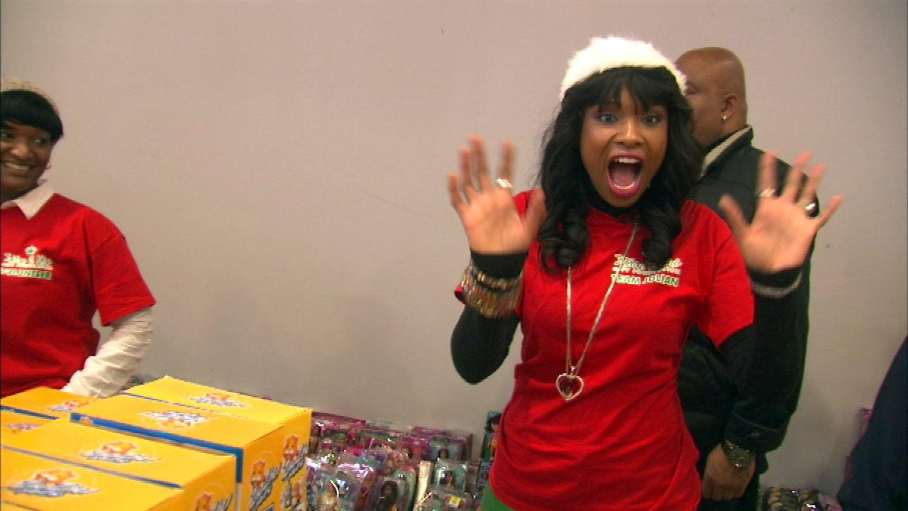 Academy Award winner Jennifer Hudson and her sister Julia handed out toys to kids Monday, Dec. 24, 2012, as part of the 4th annual Julian D. King Foundation Toy Drive.