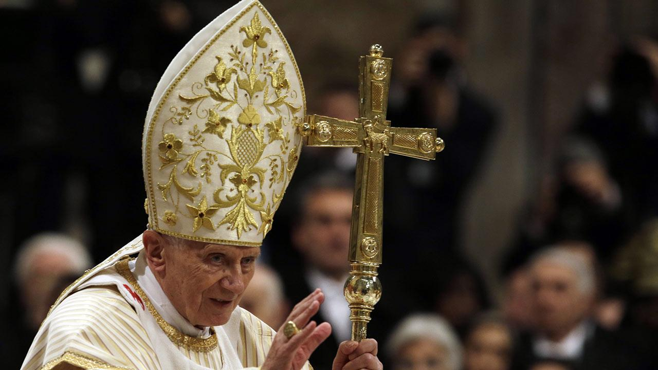 Pope Benedict XVI celebrates the Christmas Eve Mass in St. Peters Basilica at the Vatican