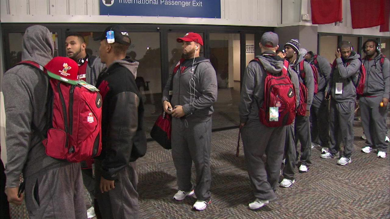 NIU players at Rockford Airport, Wednesday, Dec. 26, 2012.