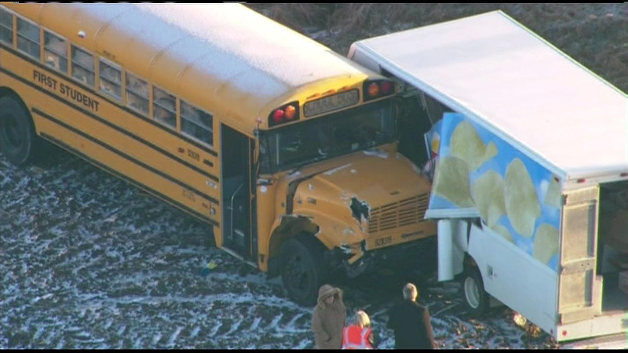No children were hurt when a school bus and a snack food delivery truck crashed in the DeKalb County community of Cortland, Monday morning, January 14, 2013.
