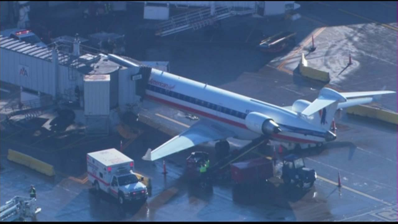 A plane landed at OHare International Airport Wednesday morning, January 16, 2013, with several injured passengers.