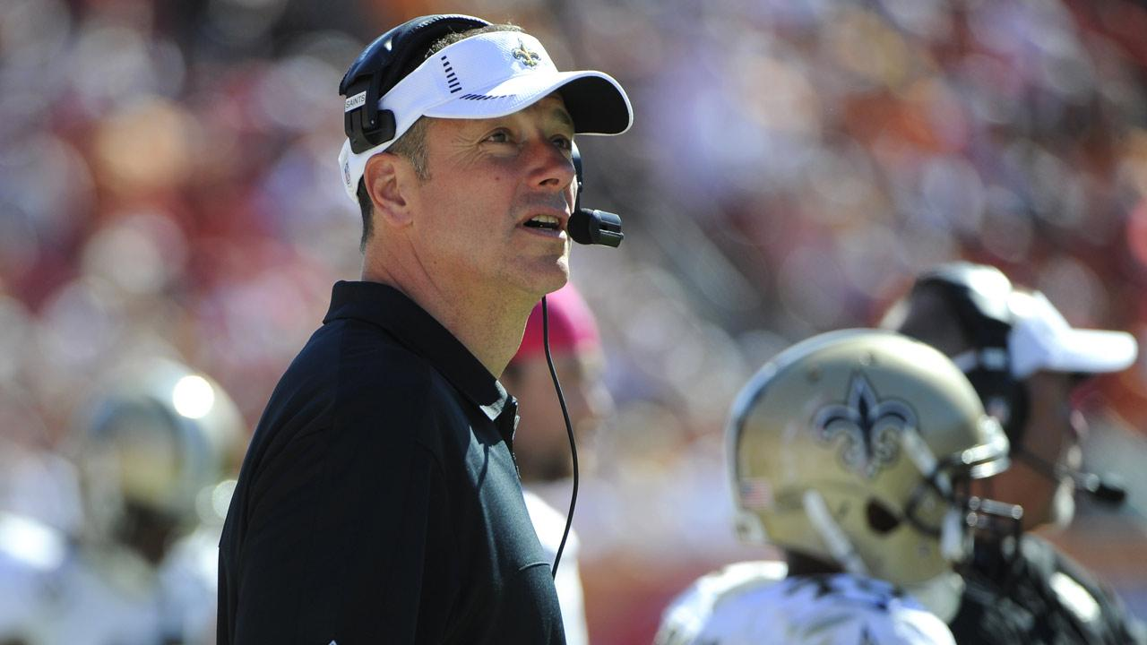 Aaron Kromer looks on from the sidelines during an NFL football game against the Tampa Bay Buccaneers Sunday, Oct. 21, 2012, in Tampa, Fla. Kromer acted as the New Orleans Saints interim head coach while head coach Sean Payton served a year-long suspension. (AP Photo/Brian Blanco)