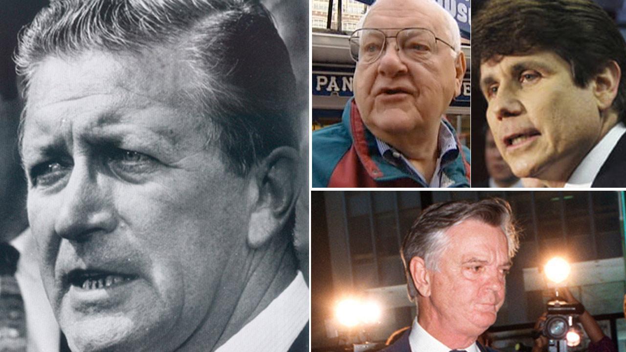 Clockwise from left: Otto Kerner, George Ryan, Rod Blagojevich, Dan Walker