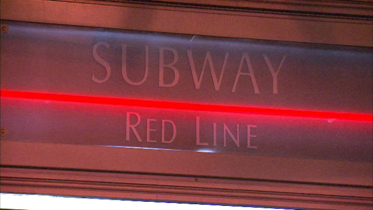 A CTA Red Line sign is seen in this file photo.