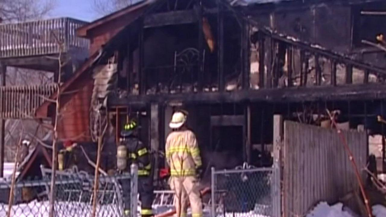 Firefighters rescued five people from a burning home Thursday afternoon, March 7, 2013,  in suburban Lincolnshire.
