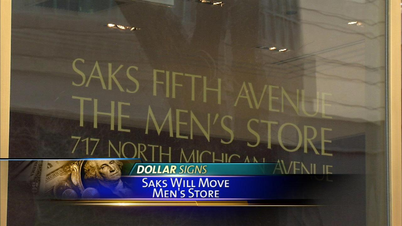 Saks Fifth Avenue is closing its mens store on Michigan Avenue in Chicago.