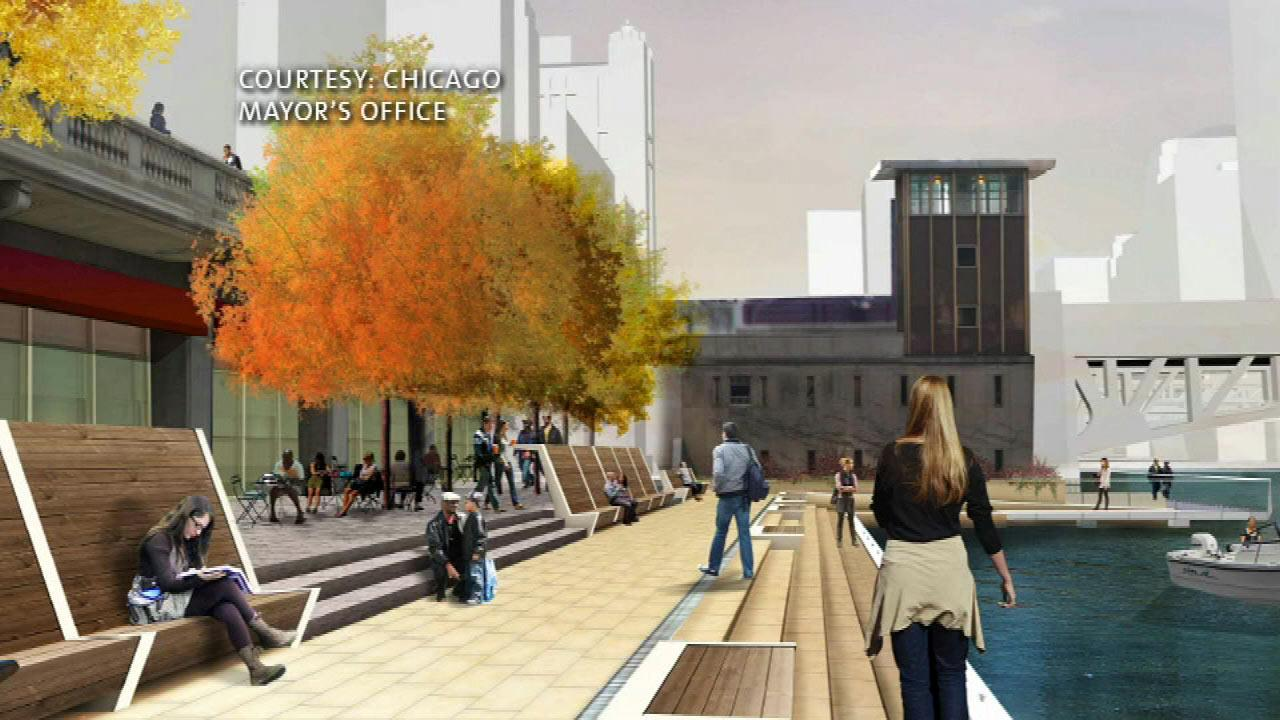 boardwalk is planned to bring people from Upper Wacker Drive  down to the Riverwalk level.