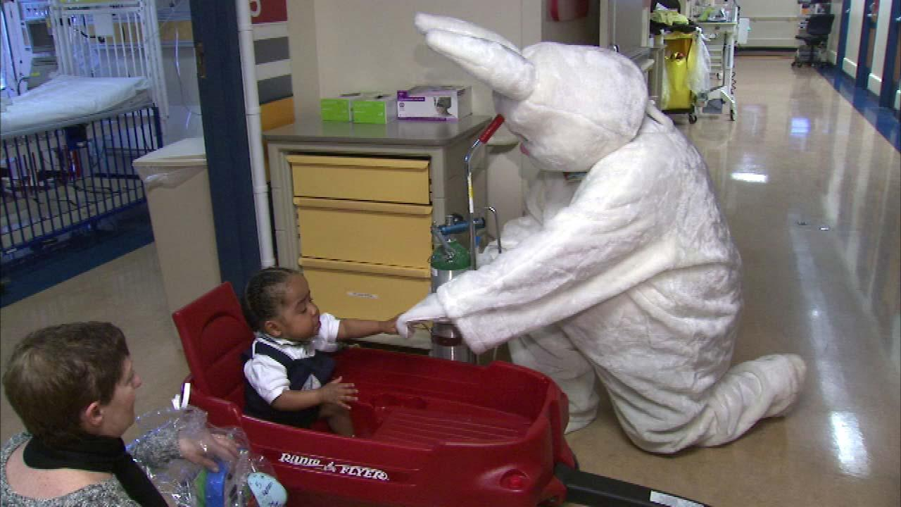The Easter Bunny made a special visit to La Rabida Childrens Hospital on Sunday, March 31,delivering 30 baskets of goodies to help bring smiles to the childrens faces.