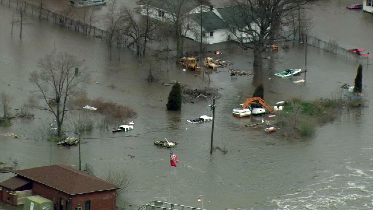 Chopper 7 HD flew over the town of Marseilles Friday morning, April 19, 2013, where officials say they have unprecedented flooding.  (Chopper 7 image)