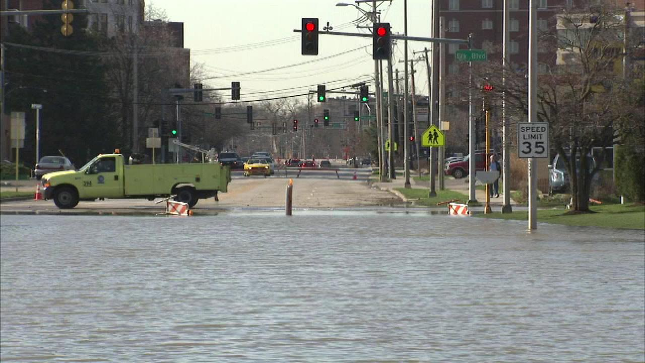 A flooded road in Des Plaines, Ill., on April 22, 2013.