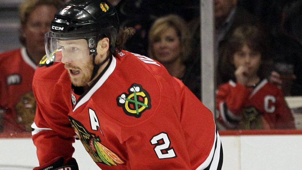 Chicago Blackhawks Duncan Keith  looks to pass in this file photo.  (AP Photo/Nam Y. Huh)