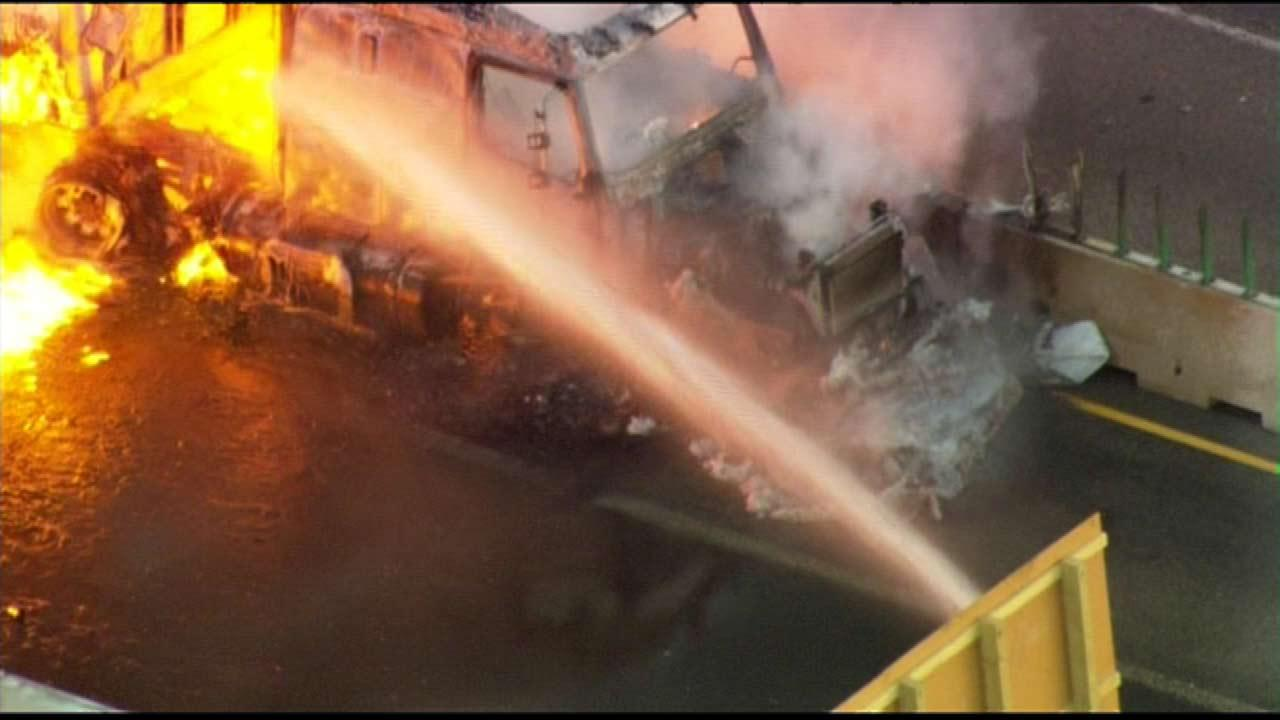 I-90 reopened after semi crash, fire ties up I-90 at U.S. 20 near Marengo