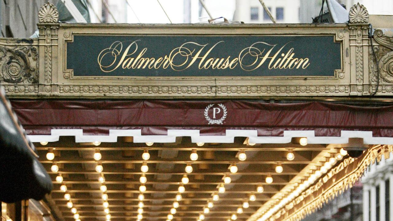 The exterior of the Palmer House Hilton in Chicago is seen in this AP file image.  (AP Photo/M. Spencer Green)