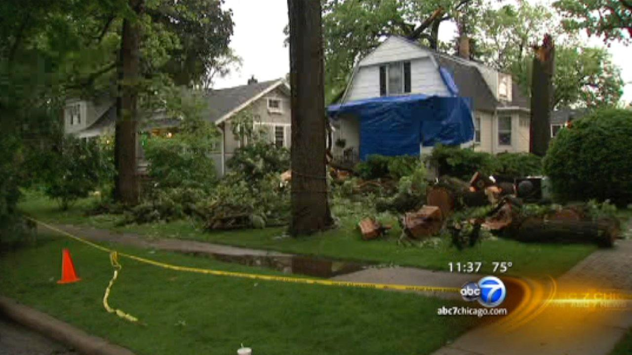 Suburban residents cleaning up after severe storms