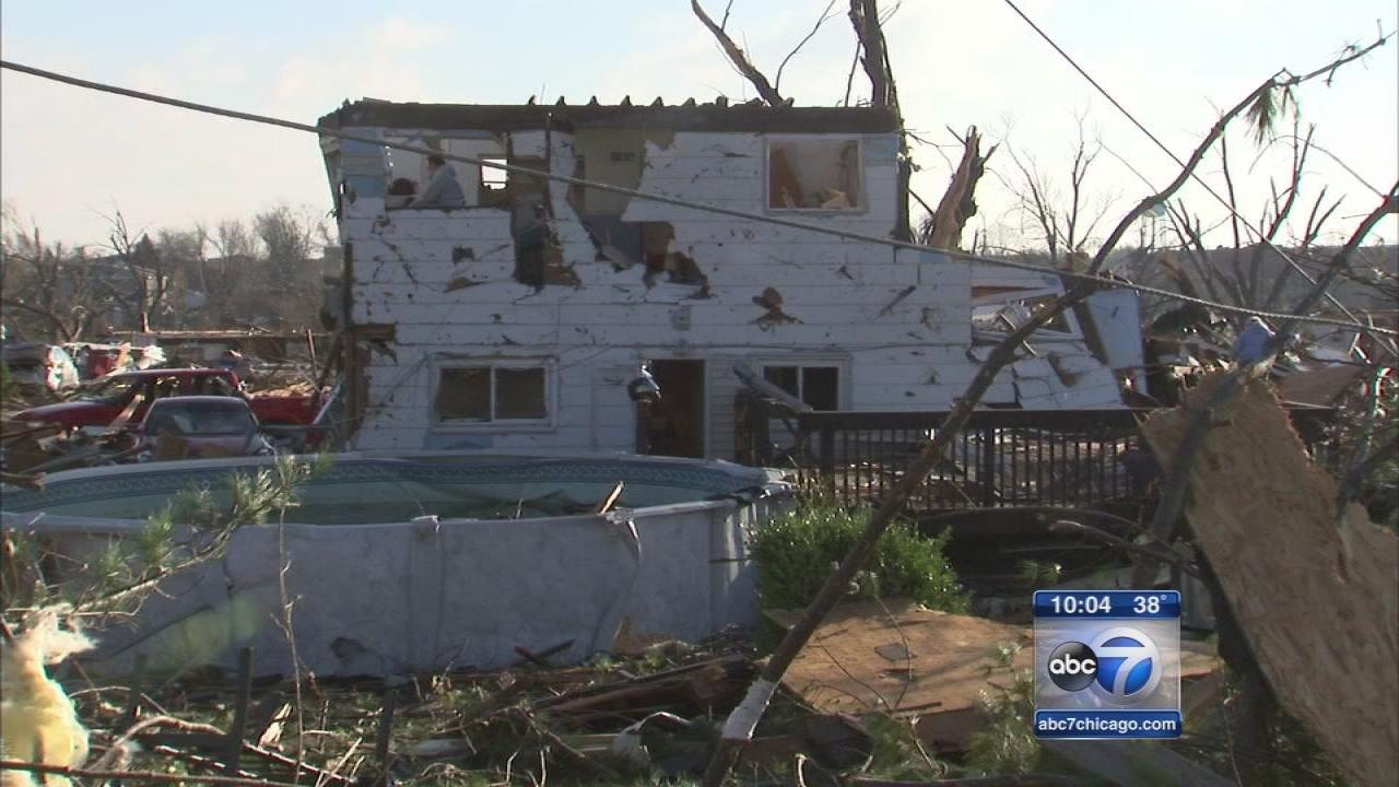 Aftermath of a deadly tornado outbreak in Washington, Illinois (FILE)