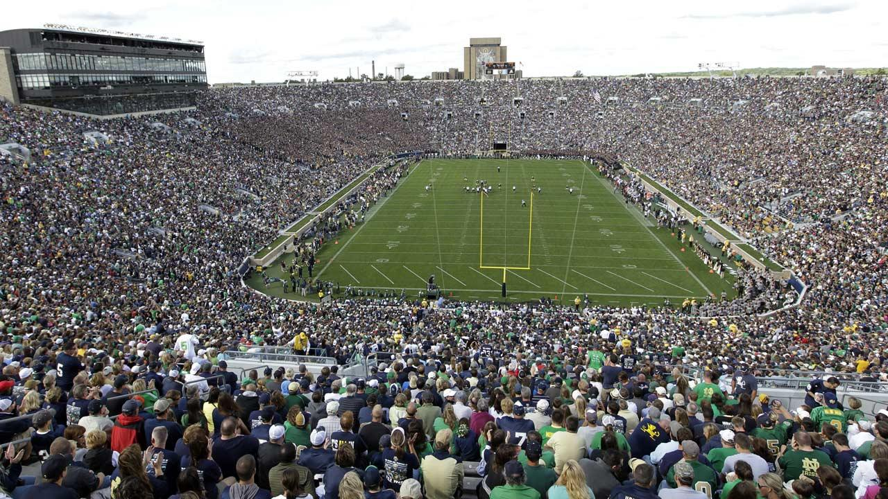 Notre Dame Stadium is shown during the first half of an NCAA college football game between Notre Dame and Purdue in South Bend, Ind., Saturday, Sept. 8, 2012. (AP Photo/Michael Conroy)